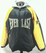 EVERLAST MMA Mens Jacket Coat Black Yellow Hooded Lined Winter Sz XL Rare