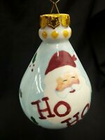 ONE OF A KIND HANDPAINTED CERAMIC CHRISTMAS TREE ORNAMENT SANTA CLAUS 1990'S