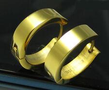 Edelstahl Creolen Herren Damen Ohrringe 24K Gold IP hochglänzend 18mm