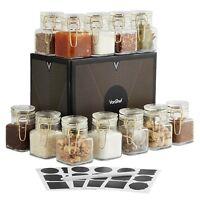 VonShef Mini Glass Storage Jars Set of 12 Clip Top Gold Stickers Chalk Gift