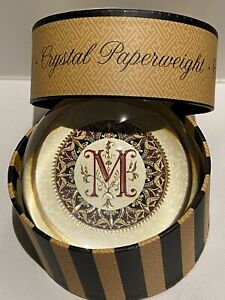 """FRENCH CRYSTAL PAPERWEIGHT   """" M """" - PUNCH STUDIO"""