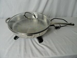 """Presto Stainless Steel Glass Lid Electric Skillet 12"""""""