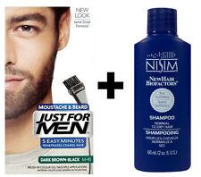 Just For Men Facial Hair Dye Moustache Beard Dark Brown Black + Nisim shampoo
