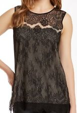 NWT $218 Gold Hawk Sleeveless Chantilly Lace Top Blouse Black Small