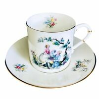 Royal Worcester Watteau Demitasse Cup Saucer Victorian Scene EUC 3 Availailable