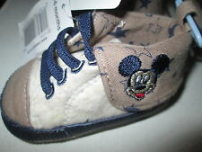 OFFICIAL DISNEY BABY MICKEY MOUSE CANVAS SHOES BOOTS BEIGE & FAWN AGE 3-6M BNWT