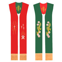 Catholic IHS Embrodiery Reversible Priest Stole Clergy Pastor Stole Red Green