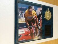 LANCE ARMSTRONG SIGNED TOUR DE FRANCE PHOTO ON A PLAQUE WITH COA
