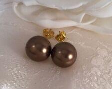 Vintage Jewellery Gold Pearl Earrings Mocha Pearls Ear Rings Antique Jewelry