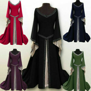 Medieval Renaissance Women's Vintage Gown Dress Halloween Party Costume Cosplay