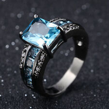 Size 7 Aquamarine Black 18K Gold Filled Rare Man Womans Fashion Wedding Rings