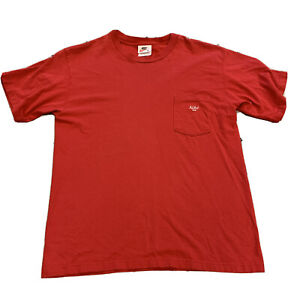 Vintage Nike USA Spellout Letter Logo Pocket Tee Red Knit shirt Mens M Made USA