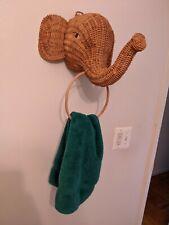 Vintage Mid Century Rattan Boho Wicker Elephant Decorative Towel Holder