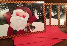 New Holiday Christmas Card Set of 4 With Envelopes 5 x 7In Santa Sparkles Cheer