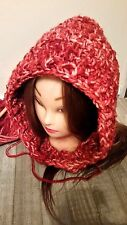 Chunky red hat hooded cowl scarf scoodie crochet womans  hand made new