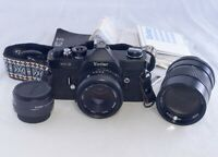VIVITAR XC3 Vintage SLR 35mm Film Camera 55mm f/2.1 135mm f/2.8 Lenses Converter