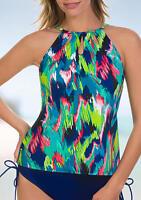 Caribbean Joe Swimwear The Bluff High Neck with Cutouts Tankini Top Swimsuit NWT