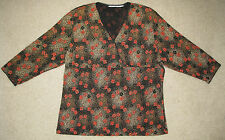 3/4 SLEEVE STRETCHY KNIT TOP PETITE WOMEN'S SIZE LARGE PL BLACK RED GOLD