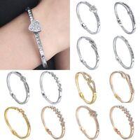 Chic Women Crystal Rhinestone Love Bracelet Bangle Chain Cuff Charm Jewelry Gift