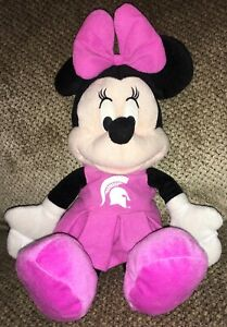 "16"" PLUSH MSU SPARTAN PINK MINNIE MOUSE DISNEY MICHIGAN STATE UNIVERSITY FUN !!"