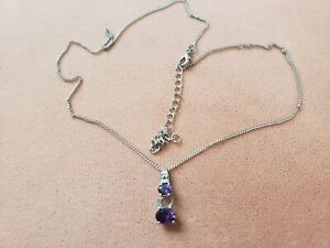 """GENUINE AMETHYST NECKLACE 18"""" PLUS STAINLESS CHAIN,0.75"""" PENDANT- Made in INDIA"""