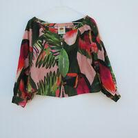 NWT Farm Rio Off Shoulder Crop Top in Toucan Tropical Print Linen Blouse XS