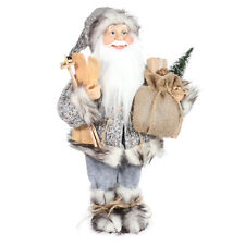 Christmas 30cm Arctic Standing Santa with Sack and Ski's Decoration