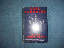 HOME FRONT MEMO by Carl Sandburg/1st Ed/HCDJ/Americana