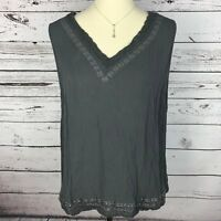 Cato Top Tank Knit Blouse Womens Plus Size 18/20W Gray Sleeveless V Neck