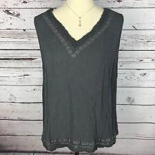 Cato Top Tank Knit Blouse Womens Plus Size 18/20W Gray Sleeveless V Neck