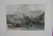 BACHARACH AM RHEIN  kolorierter Stahlstich 1870  W.L.Leitch  sehr schön