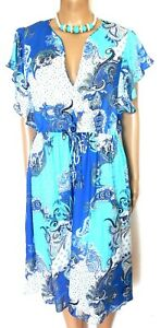 Country Road  blue paisley  drawstring summer dress, sz. 12, NWOT