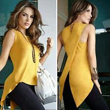 Top Sleeveless O Neck Asymmetry Fashion Women Loose Blouse T Shirt Summer HOT