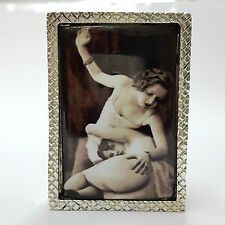 LARGE ENAMEL EROTIC 1920'S STYLE SPANKING SILVER PLATED 925 PILL BOX HALLMARKED