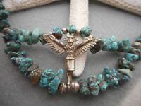 Vintage Southwest 800 Silver Turquoise Birdman Necklace    5210A