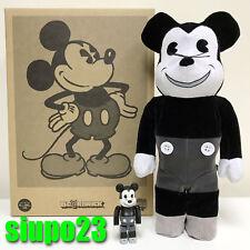 Medicom 400% + 100% Bearbrick ~ Mickey Mouse Be@rbrick Vintage Black & White Ver