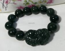 Certified Hetian dark green jade 15.5mm bead animal (QiLin) bracelet adjustment