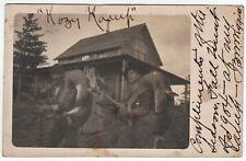 RARE RPPC Hunting Camp Men Deer over Shoulder Wiggins Antwerp NY 1904 Real Photo