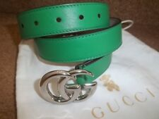 """GENUINE GUCCI DOUBLE G EMERALD GREEN LADIES LEATHER BELT SIZE XS 6 8 26"""" + BAG"""