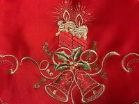 Red Christmas Party Embroidered Lace Cutwork Placemat Runner Holiday Home Decor