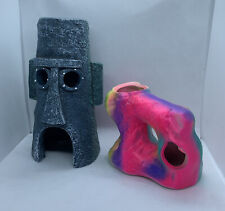 New listing Two Aquarium Decorations Stone Face Rock Pink Coral