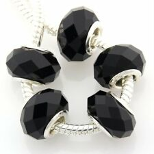50pcs black Faceted Crystal Glass Beads Fit European Bracelet Z06