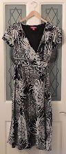 MONSOON Black & White Oriental Chrysanthemum Wrapover Silk Tea Dress Size 16