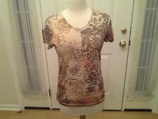 SIZE PL - NEW $24.00 JANE ASHLEY Casual Lifestyle Yellow Brown Orange Floral Top