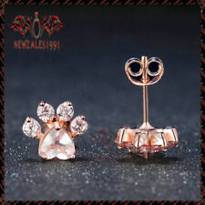 2.20Ct Heart-Cut Pink Diamond Dog Paw Stud Earrings 14k Rose Gold Over