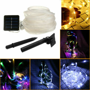 Solar Powered Rope Led String Fairy Lights Strip Waterproof Outdoor Garden Patio