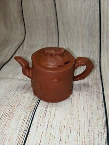Small Chinese Yixing Teapot - Dark Red Clay Knobby Texture with Squirrel on Top
