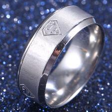 Men Women Superman Logo Stainless Steel Titanium Band Ring Wedding Size 6-13