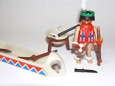 Playmobil INDIANER, WESTERN, alt, Indianer mit Kanu aus 3252, Kanu defekt