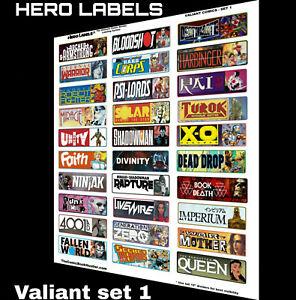 🔥HOT! Comic Book Storage Box Divider Labels Valiant Comics set 1 HERO LABELS